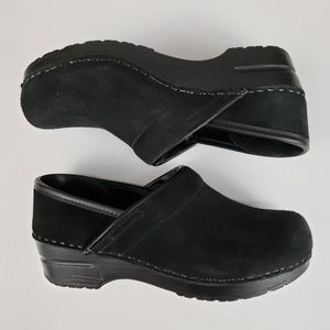 Dansko Black Suede Clogs Size 38